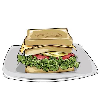 ピクニックのためのベクトル食事サンドイッチ朝食用食品