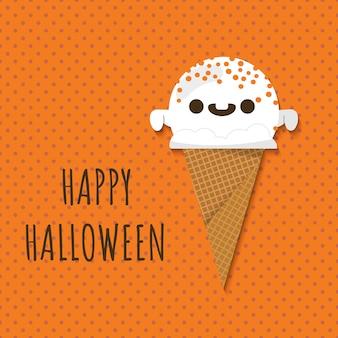 ハロウィンのゴーストシェイプのアイスクリーム。