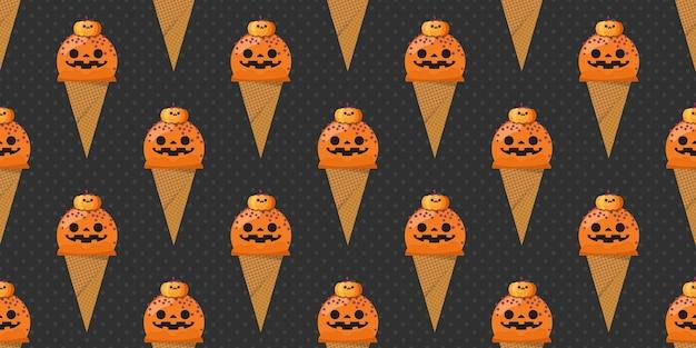 ハロウィーンのカボチャアイスクリームシームレスパターン。
