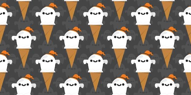 ハロウィーンのゴーストアイスクリームシームレスパターン。