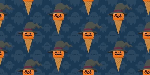 ハロウィンアイスクリームシームレスパターン。