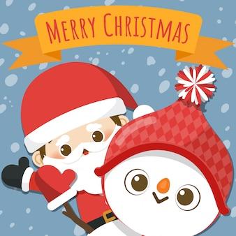 小さなサンタクロースと雪だるまを持つメリークリスマス。