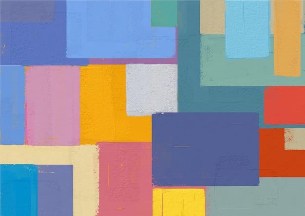 抽象的な色とりどりの四角形を描く。