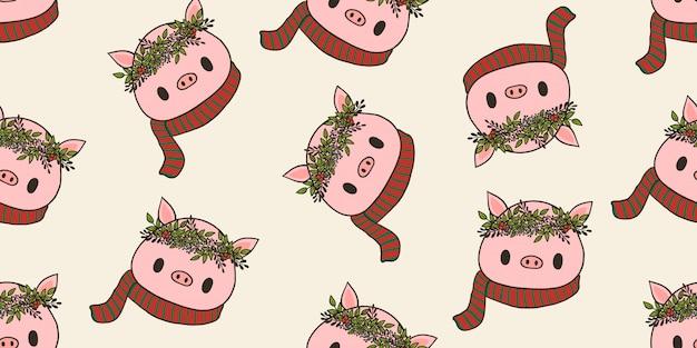 メリークリスマス、クリスマスの衣装ブタのシームレスなパターン。