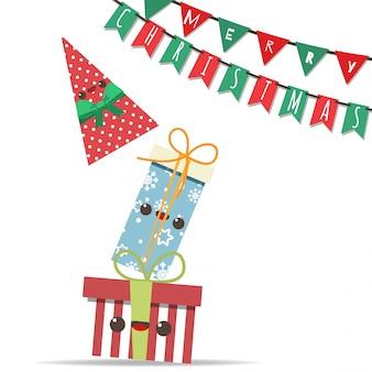 ギフトボックスのタワーとパーティーの旗が付いたメリークリスマス。