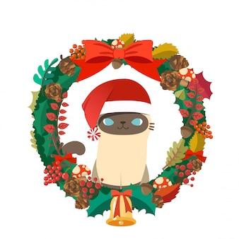 サンタクロース猫クリスマス帽子コスチュームクリスマスリース。