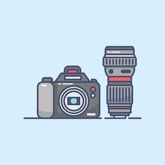 カメラの背景のフラットラインデザイン