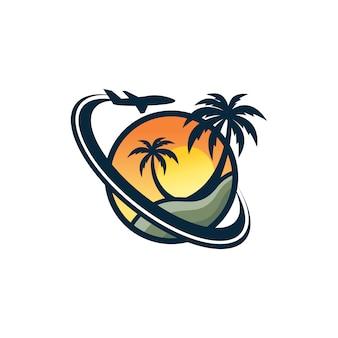 Пляжный логотип дизайн векторный шаблон