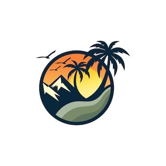 ビーチのロゴデザインベクトルテンプレート