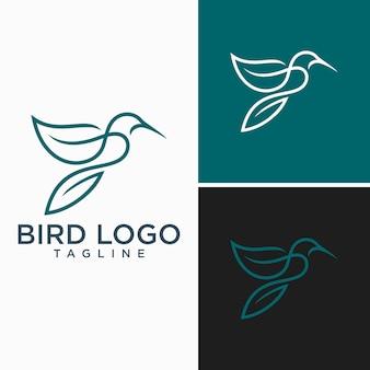 鳥のロゴ抽象的な線画アウトラインデザインベクトルテンプレート