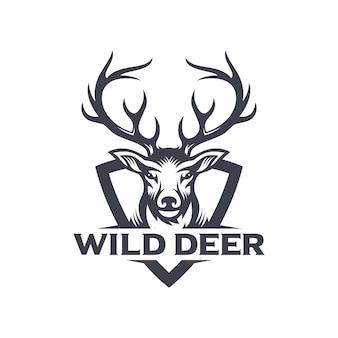 Винтажный дизайн логотипа охотника на оленей