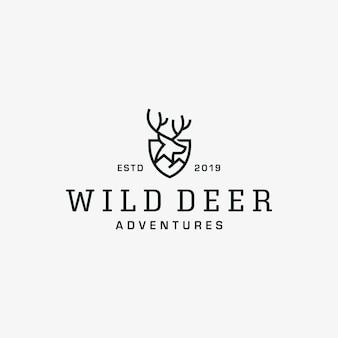 野生の鹿ビンテージロゴデザインベクトルテンプレート