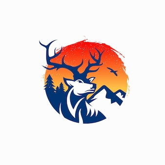 Винтаж олень логотип