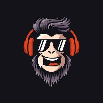 Крутой обезьяна логотип дизайн вектор иллюстратор