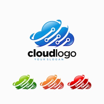 クラウドテクノロジーのロゴデザインベクトルテンプレート