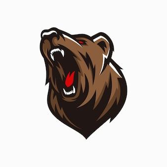 Современный профессиональный логотип гризли для спортивной команды