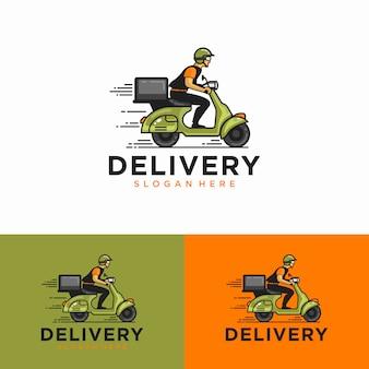 男がスクーターに乗っています。配送ロゴ