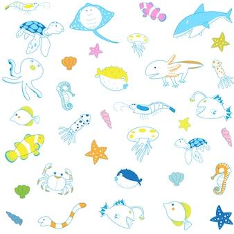 海の動物パターン