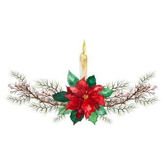 緑と赤の葉と赤いベリー-クリスマスのお祝いの装飾とクリスマスキャンドル