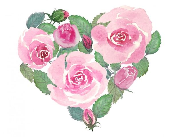 バレンタインデーや他の祭りやロマンチックな愛のお祝いの活動のためのバラとハートの花の花束ヴィンテージ水彩図面