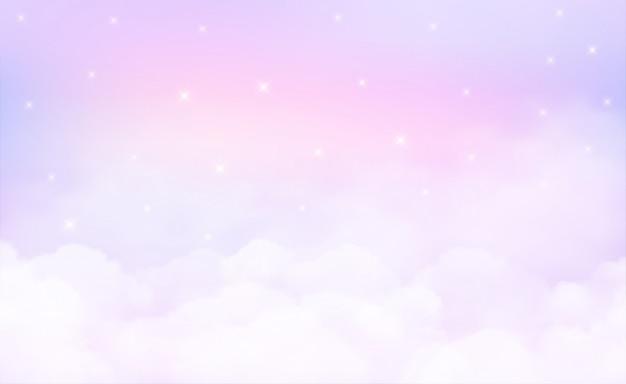 Звезды на фоне неба и пастельных тонов.