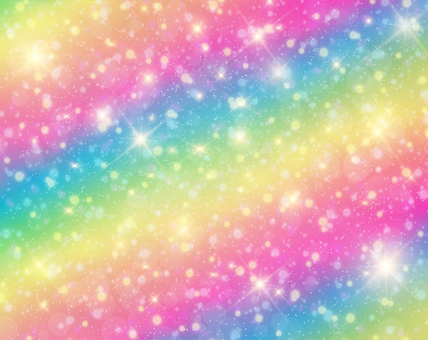 虹とパステル調の空にユニコーン。
