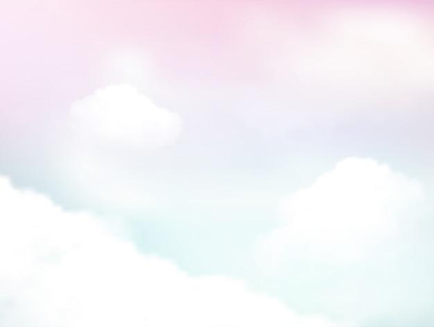 空と柔らかい雲の抽象的な背景のパステル