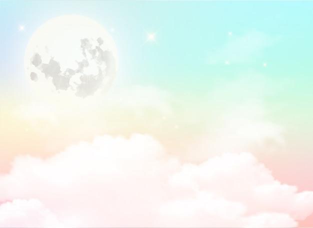満月と空の背景とパステルカラーの白い雲。