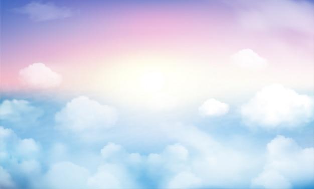 パステル調の空と白い雲の背景