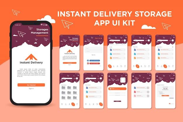 Шаблон пользовательского интерфейса приложения для управления хранением мгновенной доставки