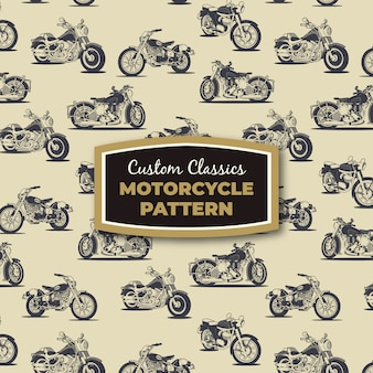 Ретро мотоциклов векторных рисунков бесшовные модели