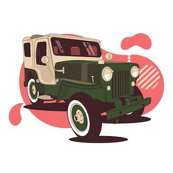 ベクトル近代的な緑赤いジープの背景