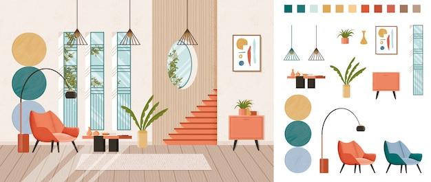 リビングルームの完全なホームインテリアデザイン、作成キット、トレンディなミッドセンチュリースタイルの家具が置かれたラウンジ、独自のイメージシーンを構築するさまざまなコンストラクター要素。カラフルなフラット。