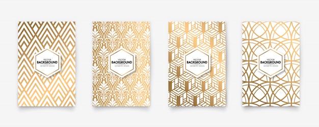 モダンな白と金のパターンアールデコジオメトリスタイルテクスチャ背景
