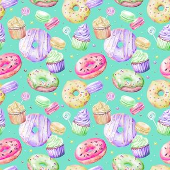 ドーナツ、ケーキ、お菓子のシームレスパターンキャラメロ