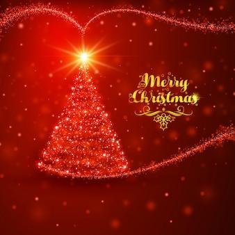 ツリーの赤いクリスマスのフレアの背景