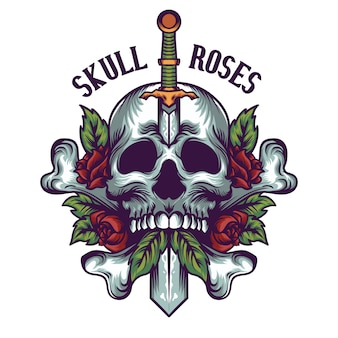 Череп и розы