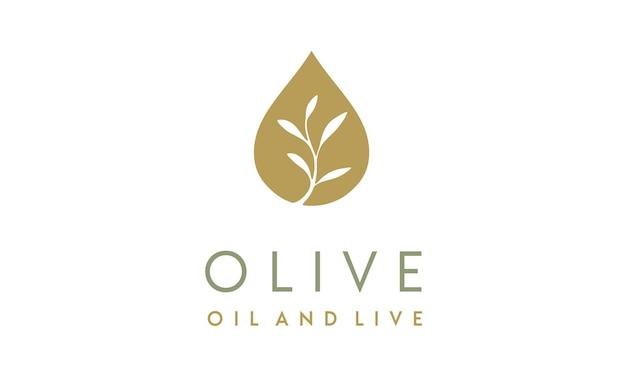 オリーブオイル/液滴とフラワーロゴデザイン