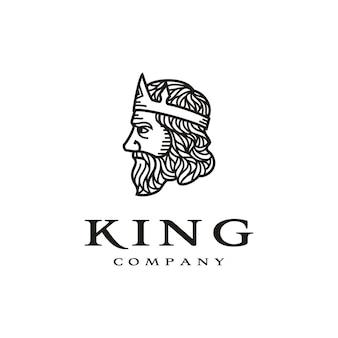 ラインアートスタイルのロゴデザインとギリシャの王の顔