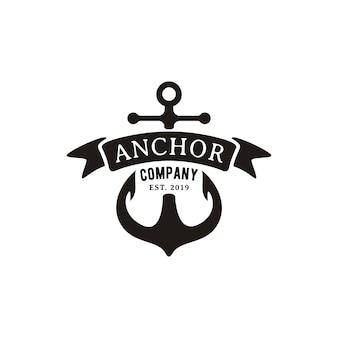 Ретро старинный якорь с ленточным логотипом