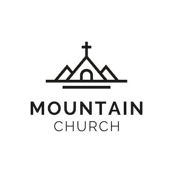 ミニマリストの山と教会のロゴデザイン