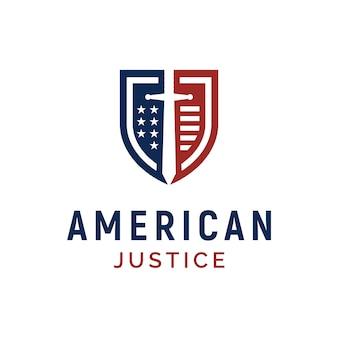 米国の正義/警備隊のロゴデザインのシールド、ブレードおよびアメリカ国旗