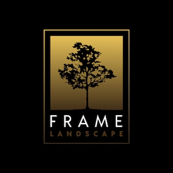 エレガントなゴールデンフレームロゴデザインの木のシルエット