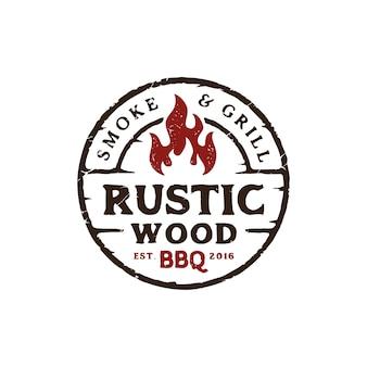 Винтажный деревенский дизайн логотипа барбекю