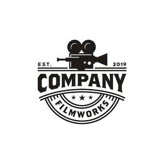 映画館の生産のためのビンテージビデオカメラのロゴ