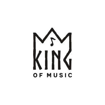 音楽ノートのロゴデザインと王冠