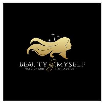 長い髪のシルエットのロゴと美しい女性