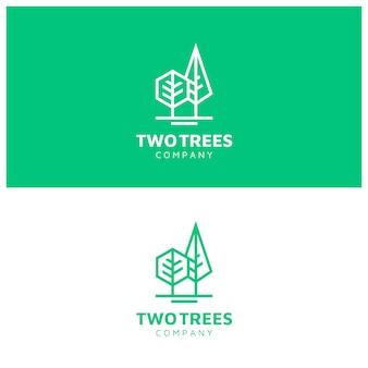 ラインアートスタイルのモダンなシンプルな木のロゴ