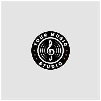 ビンテージクラシック蓄音機音楽ビニールレコードのロゴデザイン
