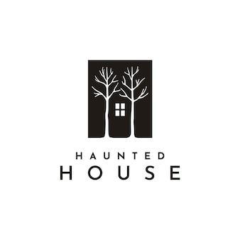 Окно темного дома и логотип с изображением дерева
